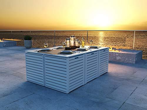 ARTELIA - RN-2 Modularwürfelset Gartenmöbel Essgruppe Aluminium - Luxus Esstisch Set für Garten, Terrasse Gartenmöbelset Weiß