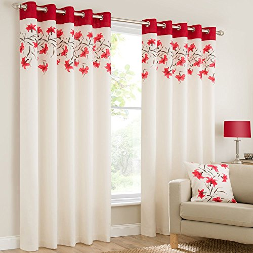 Plain faux silk look eyelet ring top poppy red cream brown fully lined curtains lily flowers floral leaves 66×90 inches 168cmx229cm drop eyelet ring top ready made