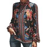 ESAILQ Damen Leinen Blusen Elegant Langarm Freizeit Oberteil Lose Langarmshirt V-Ausschnitt Tunika Sommer T-Shirt Top(XL,Rot)