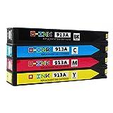 QINK 4 Stück Ersatz-Tintenpatronen für HP 913 HP 913A für Pagewide Pro 477dw 377dw 377dn 452dn 452dw 552dw 477dn 577dw 577z p55250dw p57750dw