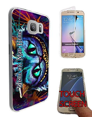 753 - Cheshire Cat We're All Mad Here Design Samsung Galaxy S7 edge G935 Fashion Trend Silikon Hülle Komplett 360 Degree Protection Flip Schutzhülle Gel Rubber Silicone (Cat Zubehör Cheshire)