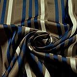 Stoff Trevira CS Köper Satin Streifen braun blau nicht