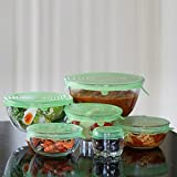 Tapas Elásticas de Silicona, Libre de BPA, Paquete de 6 Pcs Tapas Extensibles Reutilizables de Varios Tamaños para Vasos Boles Tarros, Protección Fácil para la Comida.