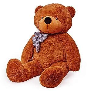 Lumaland Riesen XXL Teddybär Plüsch Kuschelbär mit Knopfaugen 120cm Braun