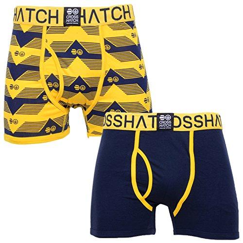 Crosshatch Mens Pyramid Designer Underwear Trunks Boxer Shorts Pack of 2