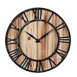 TXXCI 40CM/15.7inch Holz Nicht Tickende Großen Wanduhr Vintage Wanduhr Für  Wohnzimmer Schlafzimmer