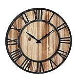 Horloge Murale, LIKELUK 15,7 Pouce Horloge Silencieuse En Bois Pendule Antique Grands Chiffres Décor pour Bureau Cuisine Salon Chambre