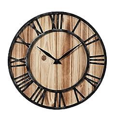Idea Regalo - Vintage Orologio da parete dei Los, Teck Peak Orologio da parete in legno Vintage non Tick fine Orologio Orologi 40x 40cm