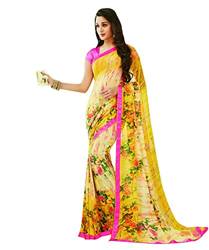 Subhash Sarees Yellow Color Georgette Printed (Floral Print) Saree  available at amazon for Rs.1016