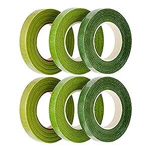 Rmeet Cinta Floral,Verde Cinta de Tallo 6 Pack Floristería Cinta del Tallo Cinta Adhesiva Tape para Flores Artificiales…