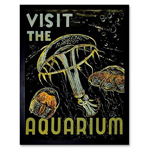 Wee Blue Coo LTD Advert Exhibition Visit Aquarium Marine Creatures Jellyfish Bubbles Art Print Framed Poster Wall Decor Kunstdruck Poster Wand-Dekor-12X16 Zoll