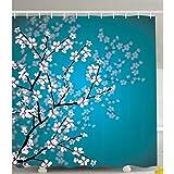 HANYULIAN Cortina de Ducha Teal Ducha Cortina Flores Rosadas Decoración Hojas y Plantas Primavera Japonesa Sakura