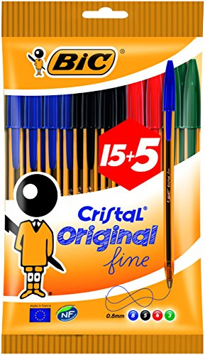 bic-cristal-fine-tip-ball-pens-orange-assorted-colours-value-pack-of-15-plus-5-free