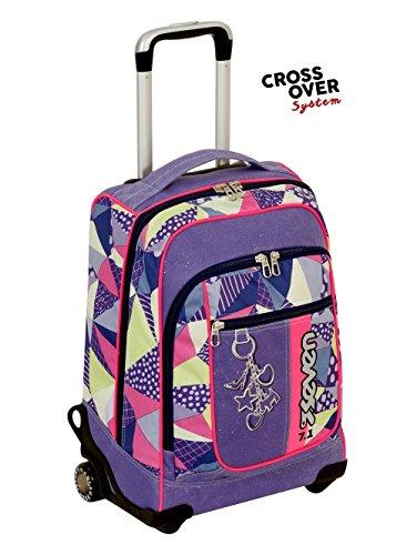 Trolley seven round new - fancy - rosa viola - spallacci a scomparsa! uso zaino scuola e viaggio