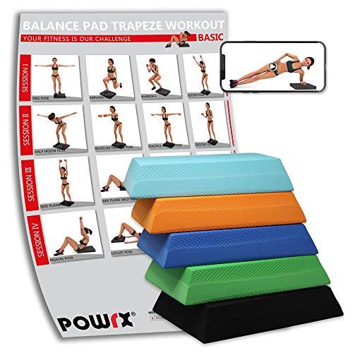 POWRX Balance Pad Deluxe Trapez inkl. Workout I Ganzkörpertraining gelenkschonend für Gleichgewicht Stabilität Koordination I Hautfreundliches TPE I Versch. Farben Cyan