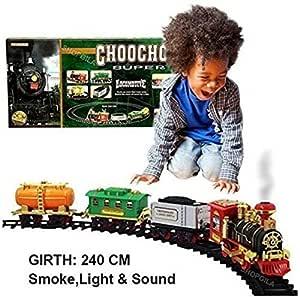 Toy Cave Real Effect Chu Chu Train with Light, Sound, Smoke, Big Track for Kids