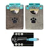 Mikrofaser Super Saugfähig Pet Handtücher für Hunde mit Fellpflege Haustier Kamm–Bundle