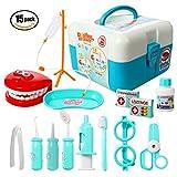 ThinkMax Doctors Kit, 15 Piezas de Juego médico, Dentista, Juguetes para niños (15 Pcs Azul)