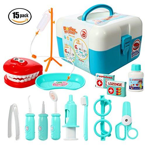 ThinkMax Doctors Kit, 15 Stück Medical Play Set Zahnarzt Spielzeug für Kinder (15 Stück - Zahnarzt Kostüm