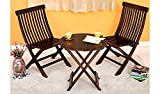 #7: VK Furniture Set of 3 Piece Dining Set Cappuccino Folding Chair And Round Table (Walnut Finish)