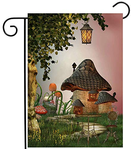 CHKWYN Fantastic Fairy Tales Mushroom Garden Landscape Tree Light Garden Yard Flag Double Sided, Polyester Welcome House Flag Banners for Patio Lawn Outdoor Home Decor Size: 28-inches W X 40-inches H