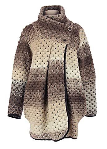 TEXTURE ONLINE Ladies Womens Italian Lagenlook Quirky Layer BUBBLE Wool Button Long Sleeve Cocoon Coat Coatigan Jacket Poncho Cardigan Curve One Size Plus UK 12-18 (One Size Plus, Mocha)