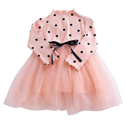 Loveble Herbst Mädchen Langarm Dot Bedruckte Tüll Kleider Prinzessin Puff (Prinzessin Baby Für Outfit)