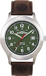 Timex Expedition Men's Quartz Watch with Green Dial Analogue Display and Brown Leather Strap T400514E