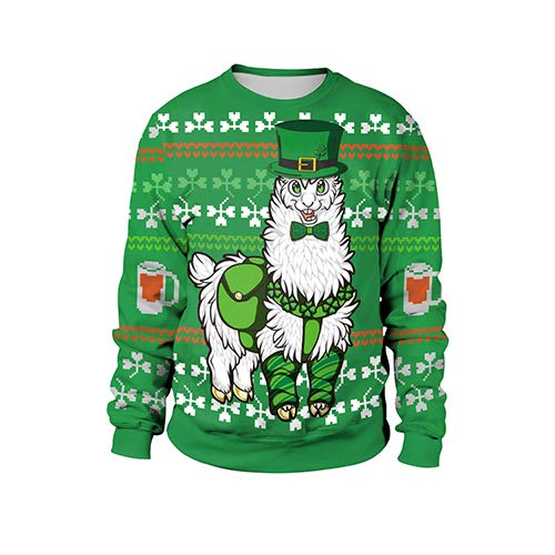 MOIMK ST Patricks Irish Green Sweatshirt Kobold Phantasie Hoodie Herren mit Womens Shamrock-Kostüm,XL