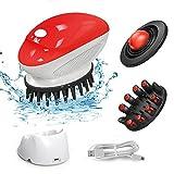 EVERTOP Appareil de massage électrique pour la tête, étanche avec 3 brosses, favorise la pousse des cheveux, facilite le nettoyage et active la circulation sanguine