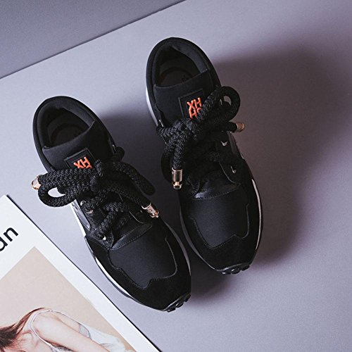 Wsxy-a1411 Femmes Épais Plate-forme Plate-forme Courir Chaussures De Sport Sneakers Casual Outdoor Sneakers, Kjjde Noir