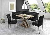 Eckbankgruppe Manchester schwarz 200cm x 140cm mit Tisch Andre in Wildeiche
