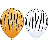Safari Animal Print - Tiger & Zebra Print Assorted Qualatex 11 inch Latex Balloons x 25 by Qualatex