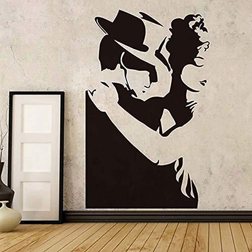 Intensive Tango Dance Wandaufkleber Größe Hause Dekorative Aushöhlen Mann Und Frauen Silhouette Schwarz Pvc Abnehmbare Wandtattoos a4 58 * 93 cm (Männer Diesel Köln)