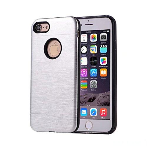 Cover iphone X silicone TPU custodia morbida ultra sottile disegno fibra di carbonio struttura spazzolata telefono custodia Cover Case DECHYI-Rosso 2# Argento