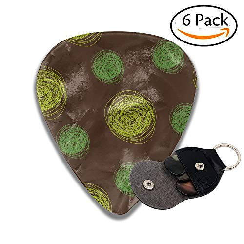 Wxf Spots In Green Tones Spirals Swirled Big Funky Dots Green Light Green Dark Brown Stylish Celluloid Guitar Picks Plectrums For Guitar Bass 6 Pack.46mm 4 Funky Dots