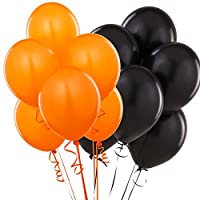 Pack Of 15 Assorted Black & Orange Latex Balloons, Halloween Wedding Party Decorations