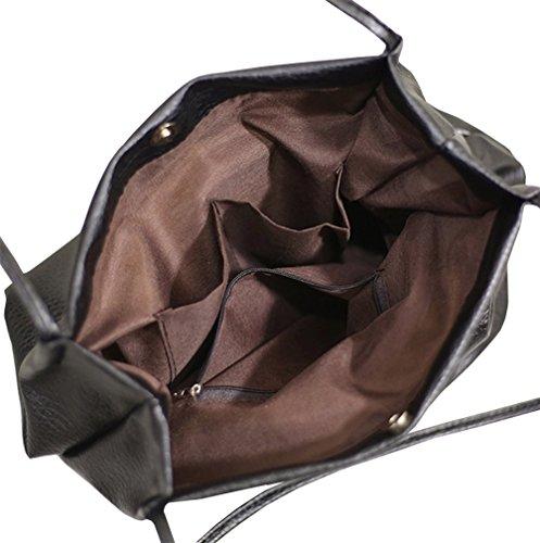 Eimer Tasche Damen Handtasche Leder Schultertasche Umhängetaschen Beutel Grau