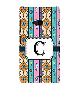 Fiobs Designer Back Case Cover for Microsoft Lumia 535 :: Microsoft Lumia 535 Dual SIM :: Nokia Lumia 535 (Floral Pattern Design Alphabet C)