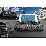 Magnet Kfz-Smartphone-Ständer mit Anti-Rutsch-Matte fürs Armaturenbrett Auto Rutschfrei Tablet Handy Halterung mit Multifunktions-Ladekabel Schwarz