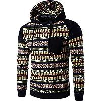 Msliy Sudadera con Capucha para Hombre Suéter Suelto Deportivo de Estilo Nacional Hoodie Colores con Bolsillo Sweater Camisa de Manga Larga