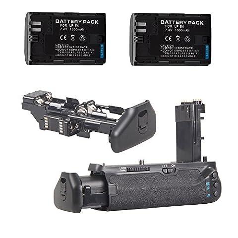 Neewer Batterie Grip Poignée d'Alimentation professionnel Remplacement pour BG-E16 + 2 PCS Batterie Li-ion Remplacement Rechargeable pour LP-E6 ou 6pcs AA Piles pour Canon EOS 7D Mark II