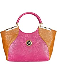 LB- Hand HeldBag For Women And Girls Durable Spacious Designer Handbags With Multi Compartments Tan Pink,LB-385