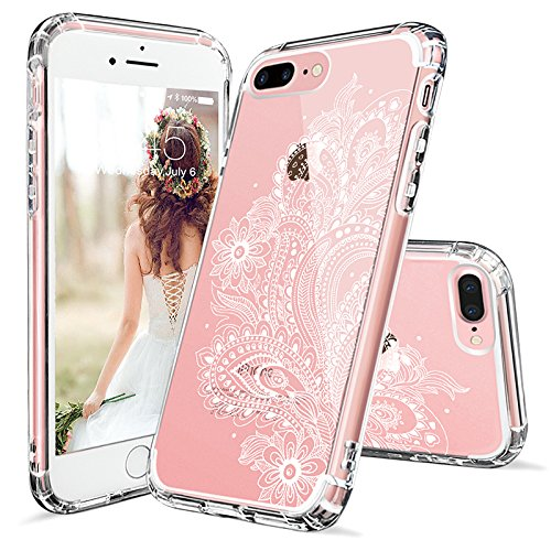 Coque iPhone 7 Plus, MOSNOVO Blanc Henné Mandala Fleur Coque iPhone 7 Plus Transparente Rigide Motif Arrière avec TPU Bumper Gel Coque de Protection Pour iPhone 7 Plus(5.5 Pouce) (Floral Lace) Paisley Floral