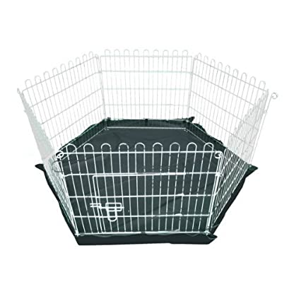 Ellie-Bo Indoor 6 Piece Galvanized Rabbit Enclosure Run with Roof Net and Base 8 Square Feet of Roaming Space 4