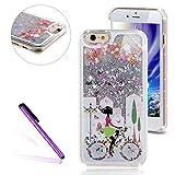EMAXELERS - Carcasa para iPhone 7de 4,7 pulgadas, diseño transparente con purpurina, rígida, purpurina y corazones rosas que fluyen en líquido transparente, antigolpes, incluye lápiz capacitivo