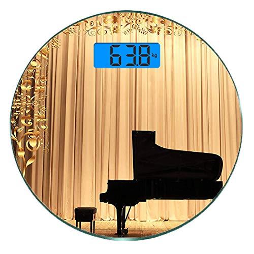 Digitale Präzisionswaage für das Körpergewicht Runde Gold Ultra dünne ausgeglichenes Glas-Badezimmerwaage-genaue Gewichts-Maße,Konzert Theater Bühne Vorhänge Flügel Gold Schwarz,Rot und Marineblau,Per