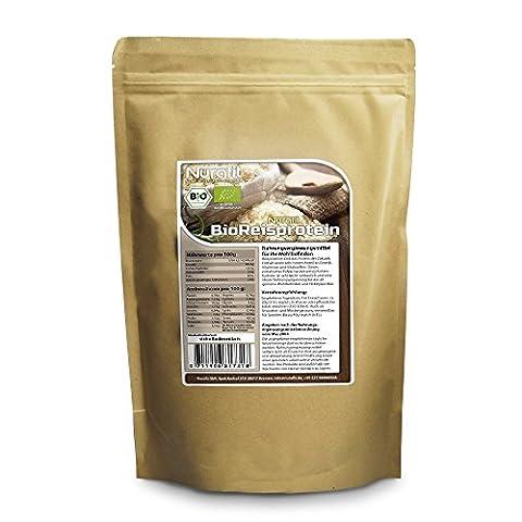 Nurafit protéine de riz BIO   certifié haute qualité   100% protéine de riz en poudre végétalienne   délicieux et sain complément des Superfood (500g)