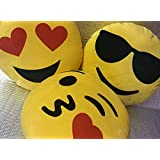 Frantic Soft Plush Emoji Flying Kiss, Heart Eyes and Cool Dude Smiley Cushion Pillows - Set of 3
