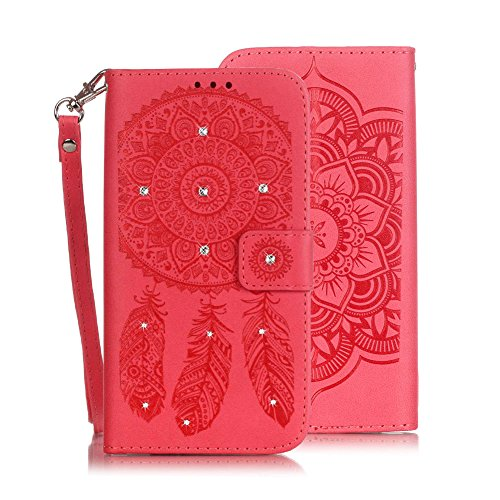 "iPhone 6s Wallet Case , VMAE Premium PU Leather Folio Flip Bling Cover , Wrist Strap Crystal Wind Bell Kickstand Wallet Case With Card Cash Holder For iPhone 6 , iPhone 6s 4.7 "" - White&Purple Red"